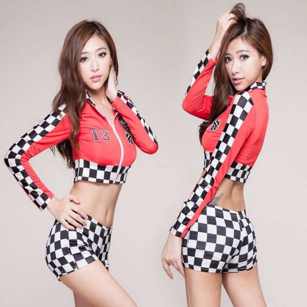 best selling Queen Top Quality Womens Sexy Fashion Race Car Driver Role Play Costume Black Red Short Shirt+Plaid Shorts Racing Suits Cosplay
