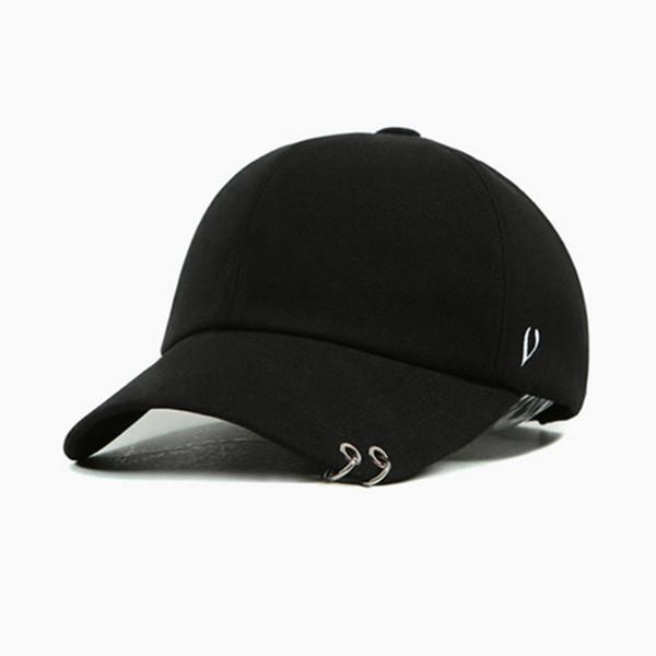 Wholesale- 2017 Brand New Peaceminusone Gd Unisex Ring Curved Hats Baseball Cap Men Women Snapback Caps Fashion Baseball Cap with Rings