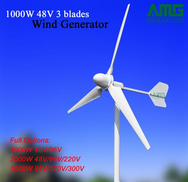 AMG wind turbine generator 1000w 48v/96v, 3 blades low rpm ac generator, for residetial/fishing boat