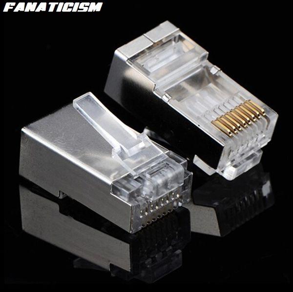 best selling 5000pcs lot Top Quality RJ-45 8P8C CAT6E Metal Shield Modular Plug Connector RJ45 CAT6 Ethernet Network Modular Plug Adapter