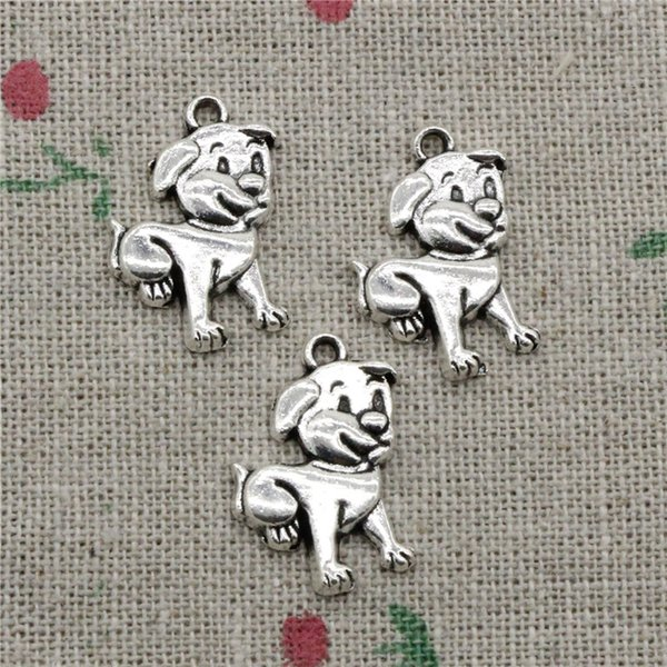 70pcs Charms Antique Silver lovely dog 21*16mm Pendant Zinc Alloy Charms Pendant DIY Makeing Jewelry Bracelet Necklace Fittings