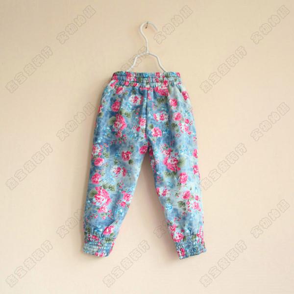 Children Girls Flowers cowboy pants kids Elastic trouser legs Printing Flyaway trousers Wholesale