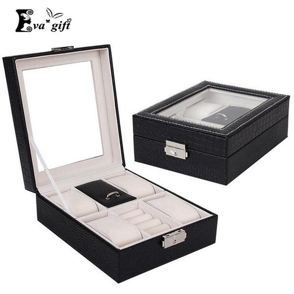 Crocodile Grain Pattern watch box Necklace Earring Jewellery Container Boxes Makeup jewelry Case cosmetic Organizer Jewelry q171126