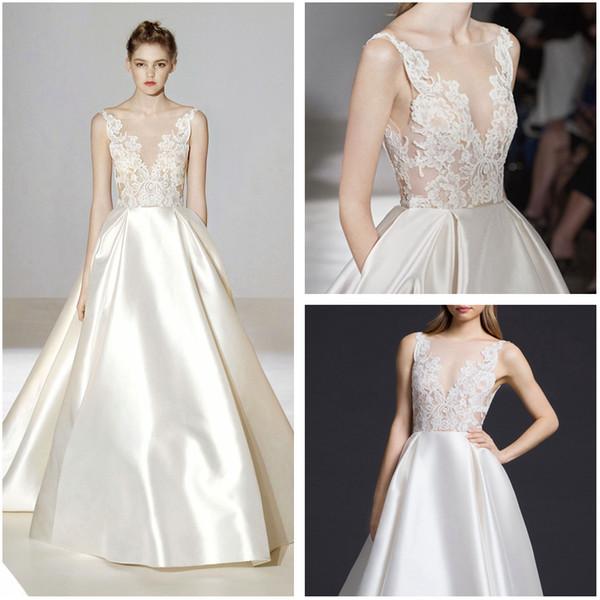94b3f9e07 Vintage Ivory Silk Mikado Vestidos de novia 2016 esquileos apliques de encaje  blusa vestidos de novia