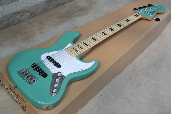 Wholesale-china Custom Musical Instruments Top Quality jazz 5 strings Active Pickups electric bassguitar light blue Free shipping 81