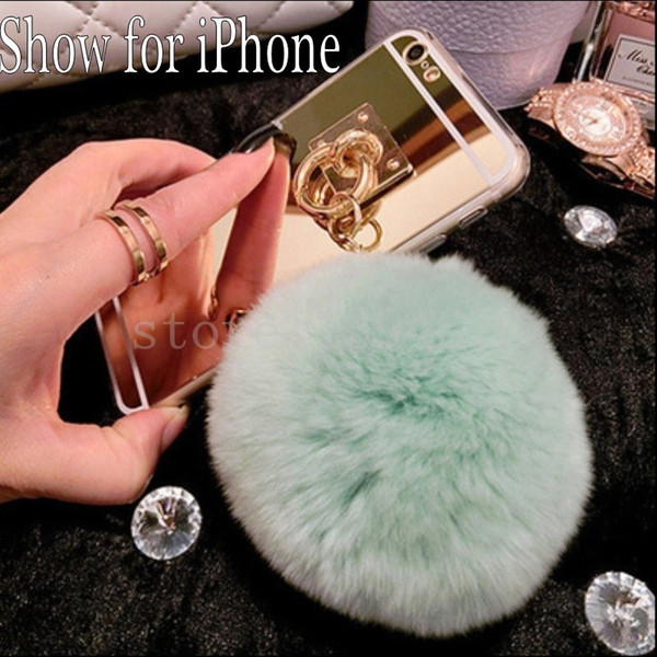 2017 Gold Metal Rope Mirror phone Back Cover Capa gold chain rabbit fur ball pompom For iphone 6 6S case
