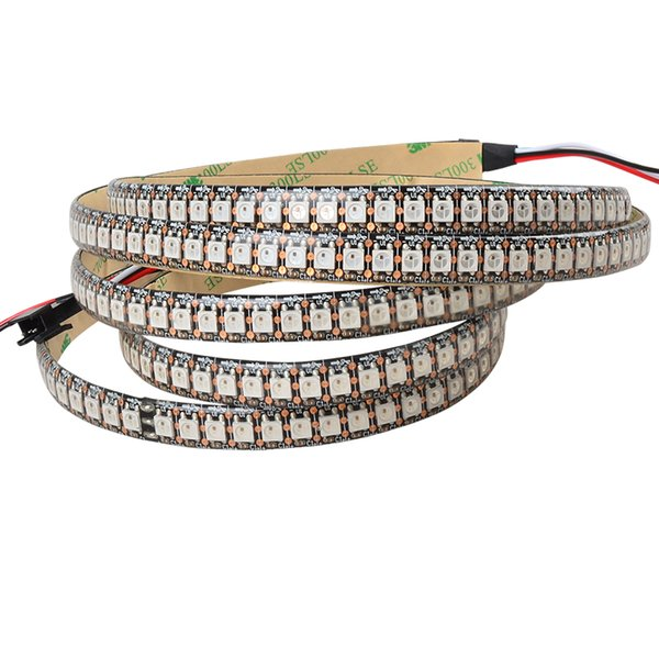 2M 5V 144LEDs/m ws2812b black pcb IP65 waterproof led strip ws2812 digital rgb pixel light ws2811 led tv backlight 5050 smd dc5v tape lamp
