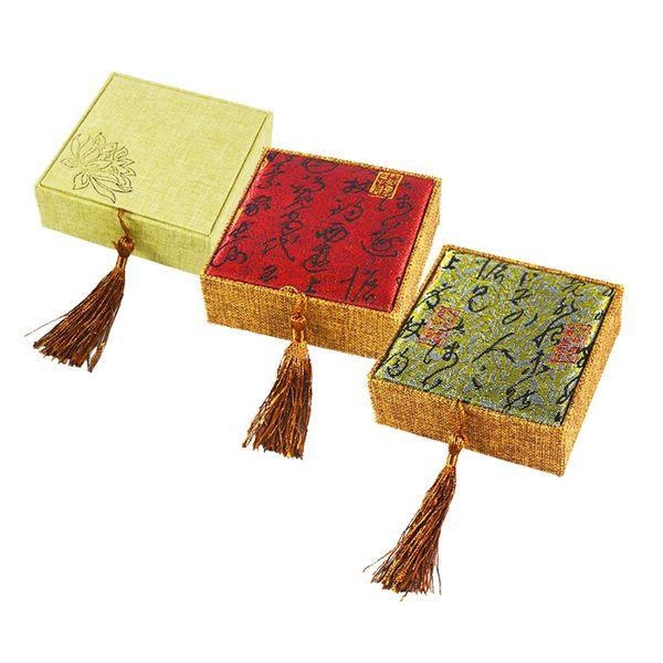 Jewelry Gift Box 3 Color Linen Bracelet Cases Jewellery Display Organizer Storage Bag 10*10*3cm