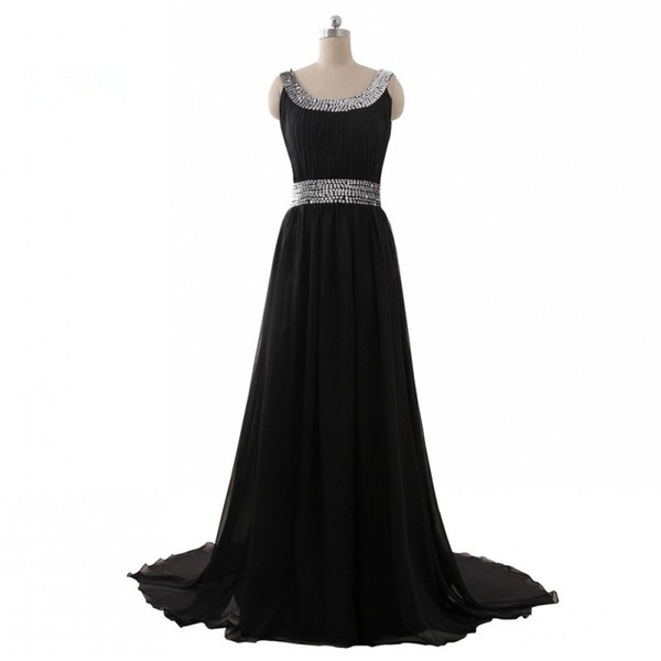 Hot Sale A Line Chiffon Scoop Neck Black Prom Dress Long 2016 Pleat Sequined Waist Tank Sweep Train Evening Gowns Party Dress