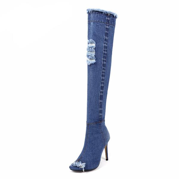 2017 синий джинсовые сапоги над коленом бедро высокие сапоги летние колено высокие сапоги для женщин на высоких каблуках женская обувь кисточкой джинсы загрузки