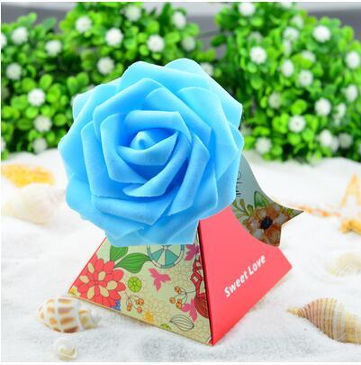 50 Pcs European style purple pink red flower color Pearl paper triangle pyramid Wedding box Candy Box gift boxs wedding favour boxes THH1