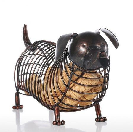 Métal Animaux Figurines Dachshund Vin Liège Conteneur Moderne Artificielle En Fer Artisanat Décoration de La Maison Accessoires Cadeau