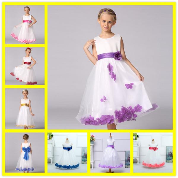 Abiti 2017 ragazze di fiore per abiti da sposa Cap Sleeve Lace Sash Bow Girl Birthday Party Dress Zipper Tulle Pageant Dress