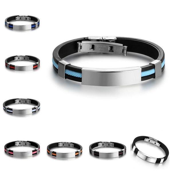 Free shipping Fashion jewelry titanium steel silicone bracelet FB388 mix order 20 pieces a lot Slap & Snap Bracelets