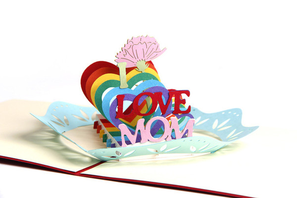 Vintage Kirigami 3D Lazer Kesim Pop Up Tebrik El Yapımı Kartpostallar Boş Hediye Kartları I Love Anneler Anneler Günü