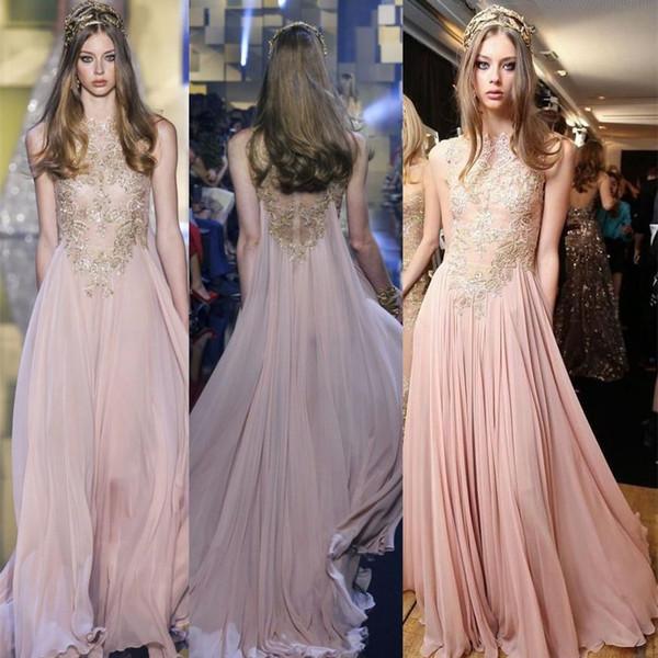 Blush Chiffon Elie Saab Evening Dresses 2017 Gold Appliques Lace ...