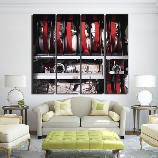 Canvas Paintings Printed 4 Pieces Fire Equipment Wall Art Canvas Pictures For Living Room Bedroom Modular Home Decor up-1280C