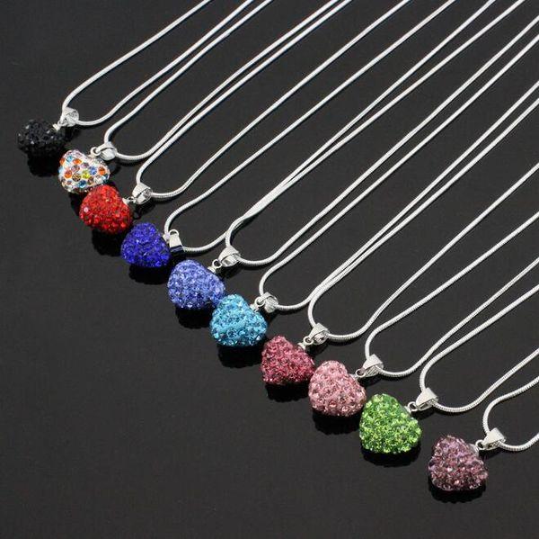 İyi A + + Popüler tam elmas matkap seramik kil şeftali kalp kolye zincir zinciri WFN379 (zincir ile) mix sipariş 20 adet çok