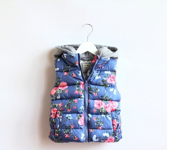 Children Outerwear Baby Girl Floral Waistcoat Hooded Thick Warm Winter/Autumn Vest Coat Kids Waistcoat Blue/Pink Colors
