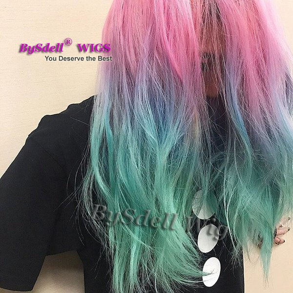 Three Tone Ombre Pink Blue Ombre Pastel rainbow Colorful Hair front lace Wig Synthetic Lace front wigs for Black women