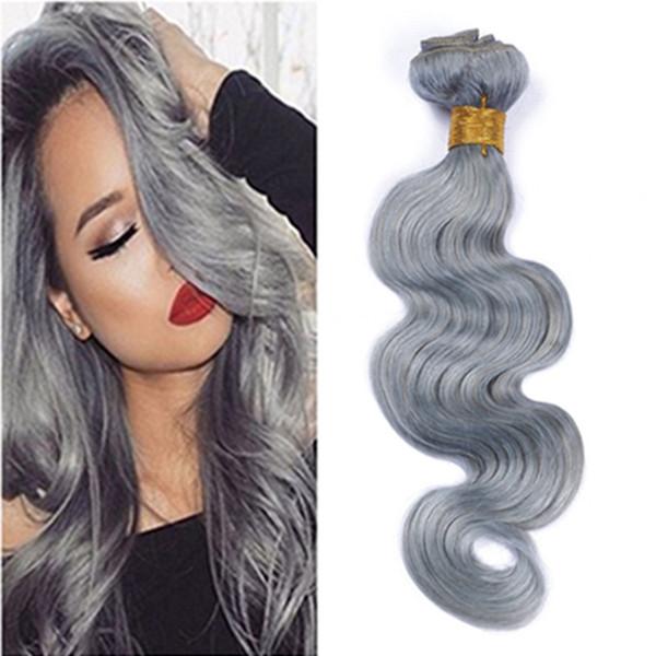 Grey Body Wave Hair Peruvian Human Bundles Gray Human Hair Weave 3pcs Hair Extension Wholesale Price Virgin grey For Sale