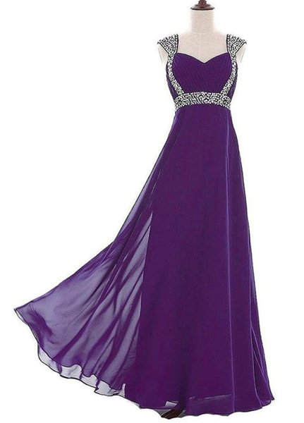 Free Shipping Ladies Evening Gowns 2017 Vestidos Longo Fe Festa Elegant Purple Chiffon Long Prom Dresses