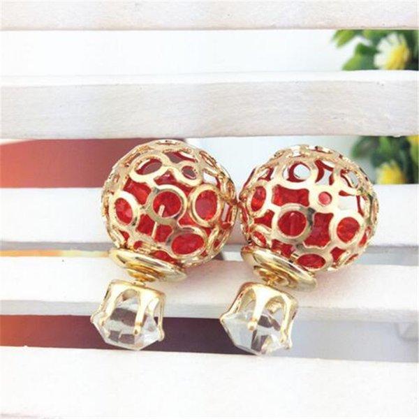 Brand New Korea Orecchini di perle CZ Zircone Orecchini a sfera di cristallo Orecchini Hallow Ball Cubic Zirconia Orecchini Gioielli Regalo di Natale