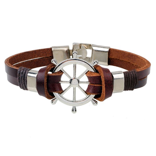 Wholesale- Sea Navigation Rudder Anchor Bracelet For Men Punk Rock Wrap Leather Bracelet Friendship Bracelets Woman Men Jewelry