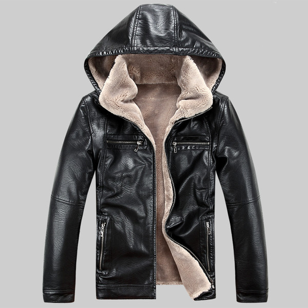 top popular Wholesale- Men PU leather jackets 2017 New brand plus velve casual mens leather jackets and coats,Hat Detachable Winter warm jaqueta couro 2019