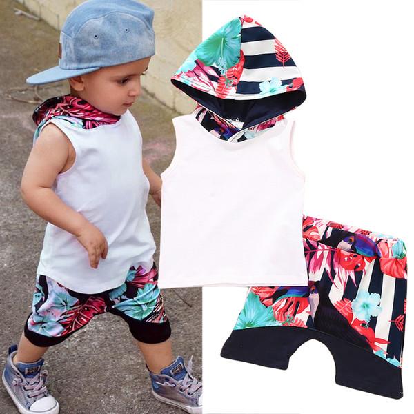 2018 Fashion Summer Toddler Outfits Set Bambini Baby Boy Floral con cappuccio Bianco Top T-shirt Vest + Floral Pantaloni corti Vestiti del bambino Set 2PCS