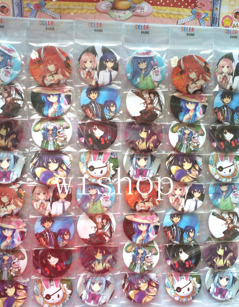 Wholesale- New 48pcs/set Japanese Anime DATE A LIVE Pin Badges,Round Brooch Badge Kids Clothing Accessories 4.5 cm Free Shipping #M01