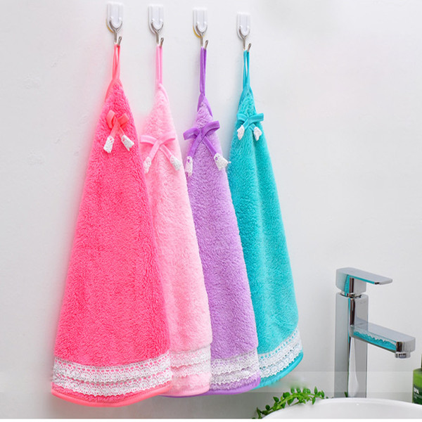 New Lovely bow knot lace edge fan towel thickened coral velvet kitchen duster rag free shipping