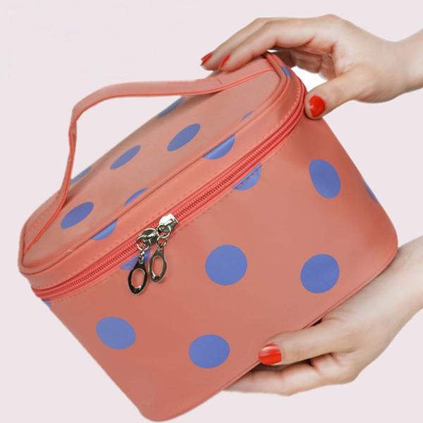 Brand Women Makeup Bag Case Large Capacity Cosmetic Bag Travel Pouch Polka Dots Printed Handbag Ladies Toiletry Bags