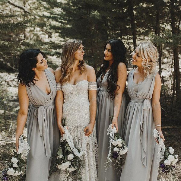 Modest 2017 Silver Grey Chiffon Bohemian Bridesmaid Dresses Long Cheap V Neck Ruched With Sash Maid Of Honor Gowns Custom Made EN9152