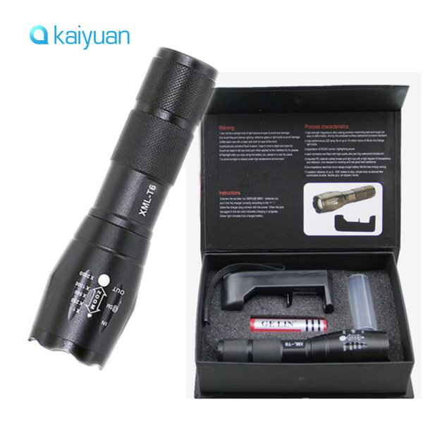 LED Flashlight Ultrafire 2000 Lumens Zoom Adjustable CREE XM-L T6 LED 18650 Flashlight/Torch & 1x18650 Battery + Charger & Gift Boxes