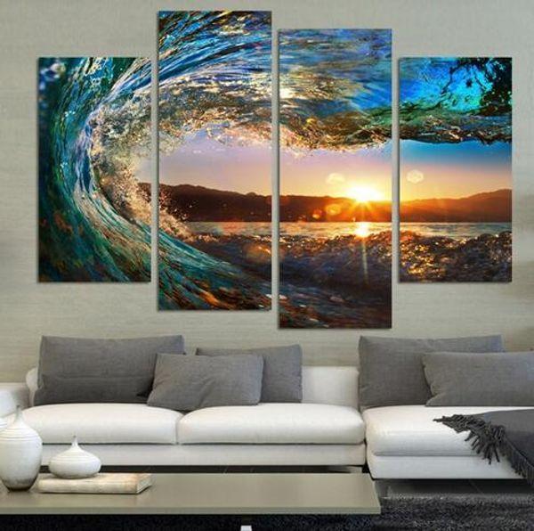 4 Panel Modern Seascape Painting Canvas Art HDSea wave Paisaje Cuadro de pared para dormitorio sin marco