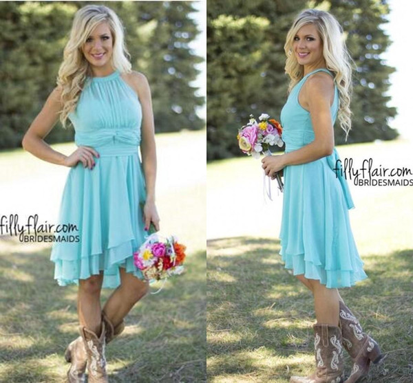 top popular Country Short Bridesmaid Dresses Mint Halter Neck Chiffon High Low Ruched Summer Boho Backless Wedding Guest Party Maid Of Honor Dresses 2021