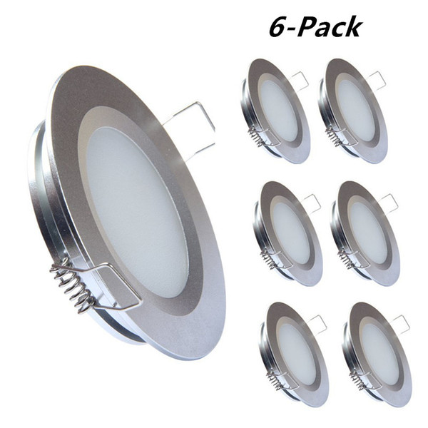 Topoch LED Light Ceiling 6-Pack Super Slim Spring Clips Mount Full Aluminium DC12V 3W 240LM for RV Boat House Sliver White Nickel