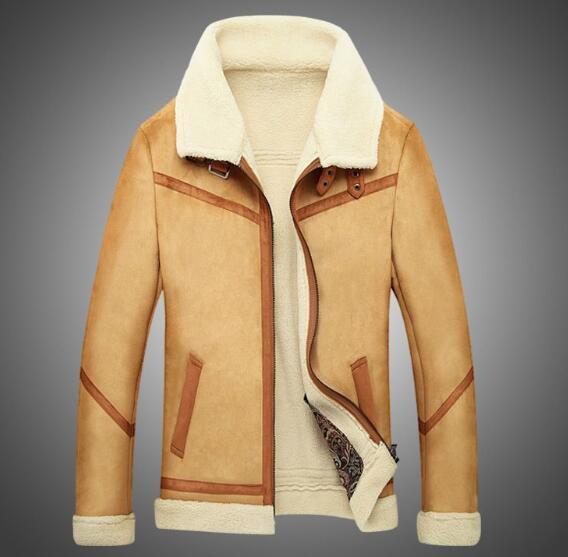 top popular Wholesale free shipping Warm Men's Air Force One Jacket mens woolen Faux Fur coat leather jacket thick fleece men 2019