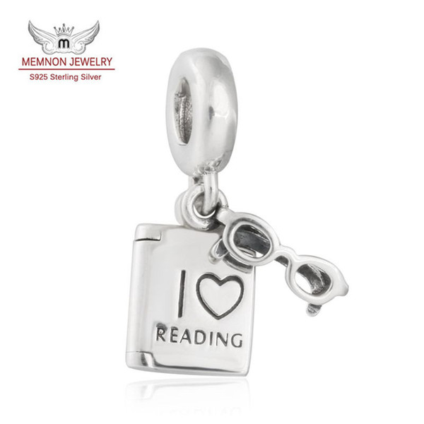 Memnon Jewelry 925 Sterling Silver I Love Reading Dangle Glasses Frame and Book Pendant Charm Beads For Jewelry Making DIY Accessories DA187