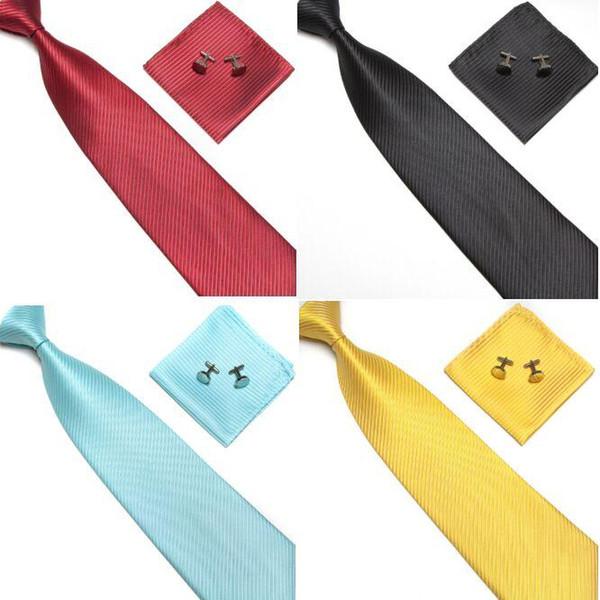 Neck Tie Cuff Links Handkerchief Set 19 Colors 145*10cm solid color NeckTie Men's Stripe necktie for Father's Day business tie gif