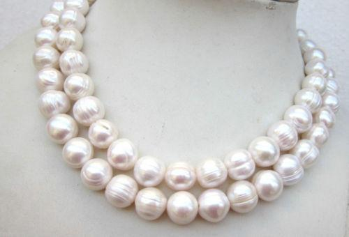 """New beautiful 32""""10-11mm natural white freshwater breeding thread pearl necklace"""