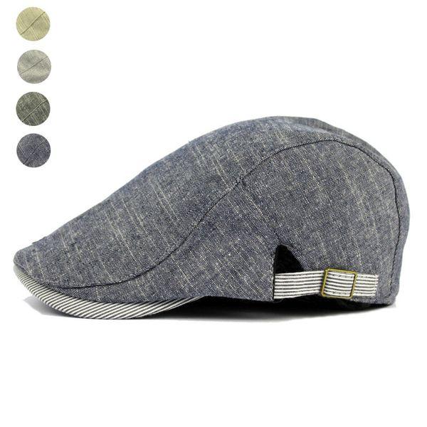 f10569794 2019 Wholesale Adjustable Beret Caps Spring Summer Outdoor Sun Breathable  Bone Brim Hats Womens Mens Herringbone Solid Flat Berets Cap Hat From ...