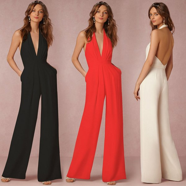 top popular Sexy Elegant Jumpsuit Women Halter V Neck Backless Playsuit Casual Loose Suspender Fashion Lady Full Length Rompers DK4030LT 2019