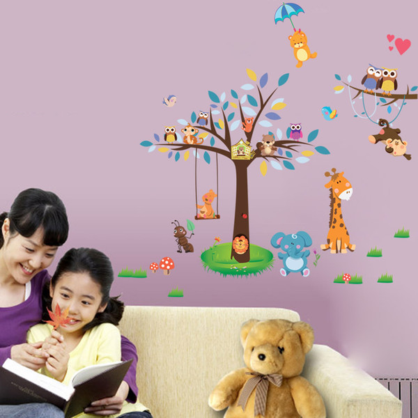 3021 3D Animal Giraffe Owl Zoo Cartoon Wall Stickers Muti-color large Tree For Kids Room Decoration DIY Home Decal Free Shipping