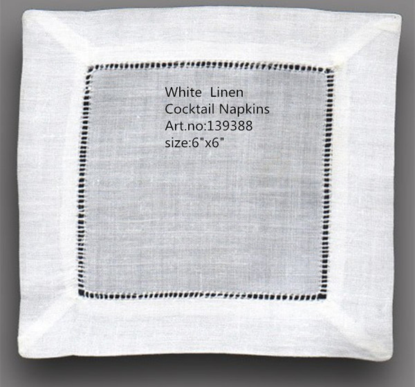 """top popular Home Textiles Table Napkin NewTablemat Wholesale 120pcs Lot 6""""x6""""Square Elegant white Linen Cocktail Napkins is dress up any cocktail party 2021"""