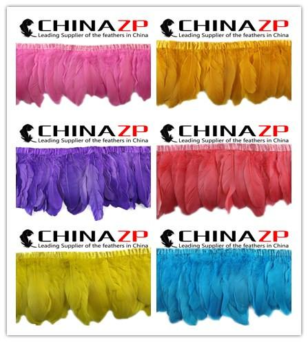 Leading Supplier CHINAZP Crafts Factory 1yard 15~20cm(6~8inch) Width Cheap Wholesale Dyed Multicolor Goose Feather Trimming Fringe