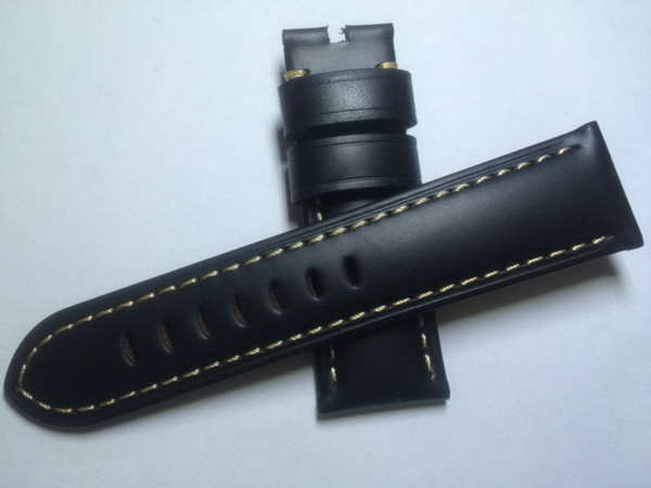 top popular New 24mm Mens Black Brown Leather Watchband, crocodile texture. First class quality, best price, free shipping. 2020