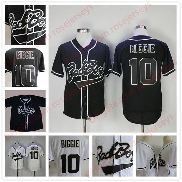 Mens B.I.G. #10 Biggie Smalls Black Jersey The Notorious Movie Bad Boy White Stitched Baseball Film Buttons cheap Jerseys Size S-3XL