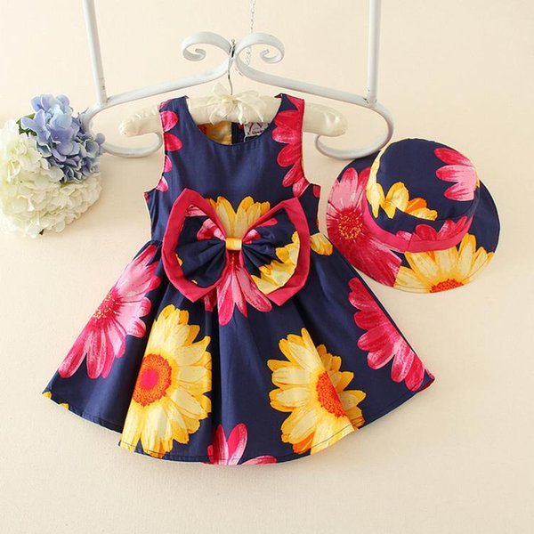 Kids Girls Floral Print Dresses 2017 Summer Baby Girl Cotton Bow Dress Infant Princess Tutu Dress for Party Newborn Children Clothing S701